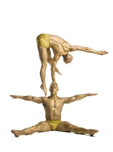 Stock Photo: 1660R-26729 Two male acrobats performing