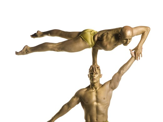 Stock Photo: 1660R-26731 Two male acrobats performing