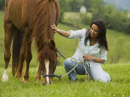 Stock Photo: 1660R-27545 Portrait of a woman holding the reins of a horse