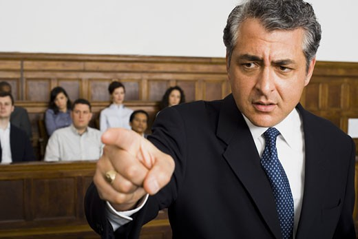 Stock Photo: 1660R-27941 Portrait of a male lawyer pointing