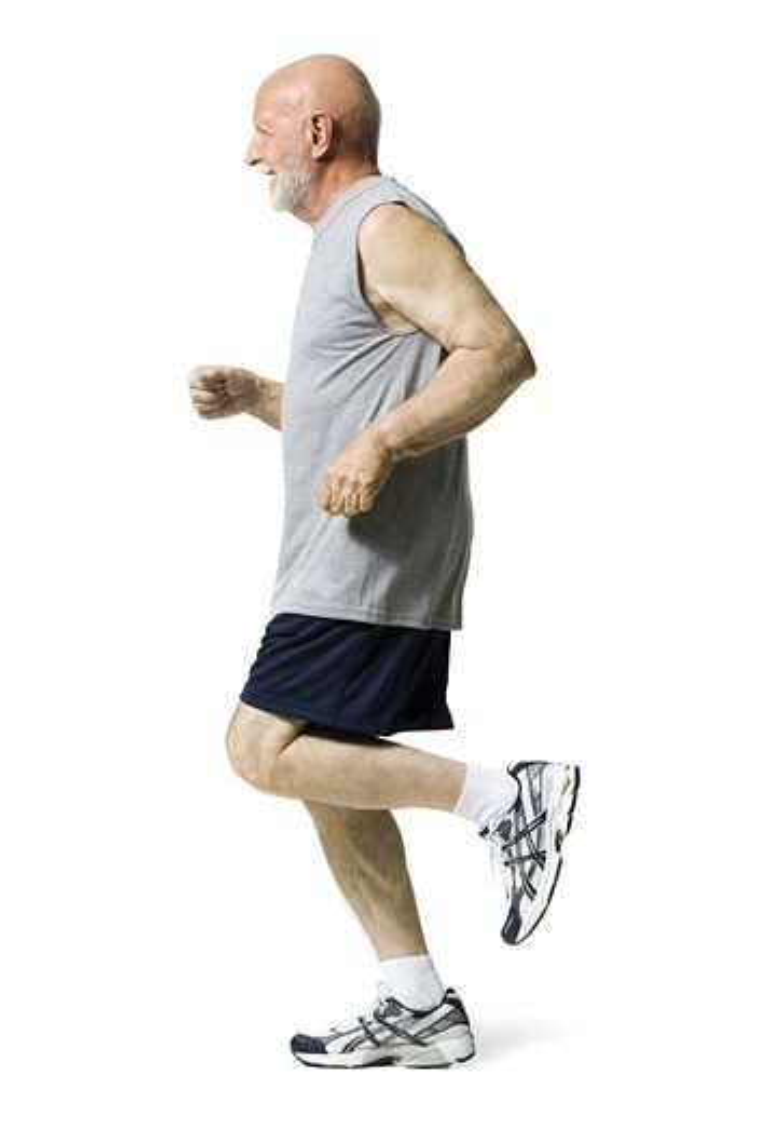 Stock Photo: 1660R-28225 Profile of a senior man jogging