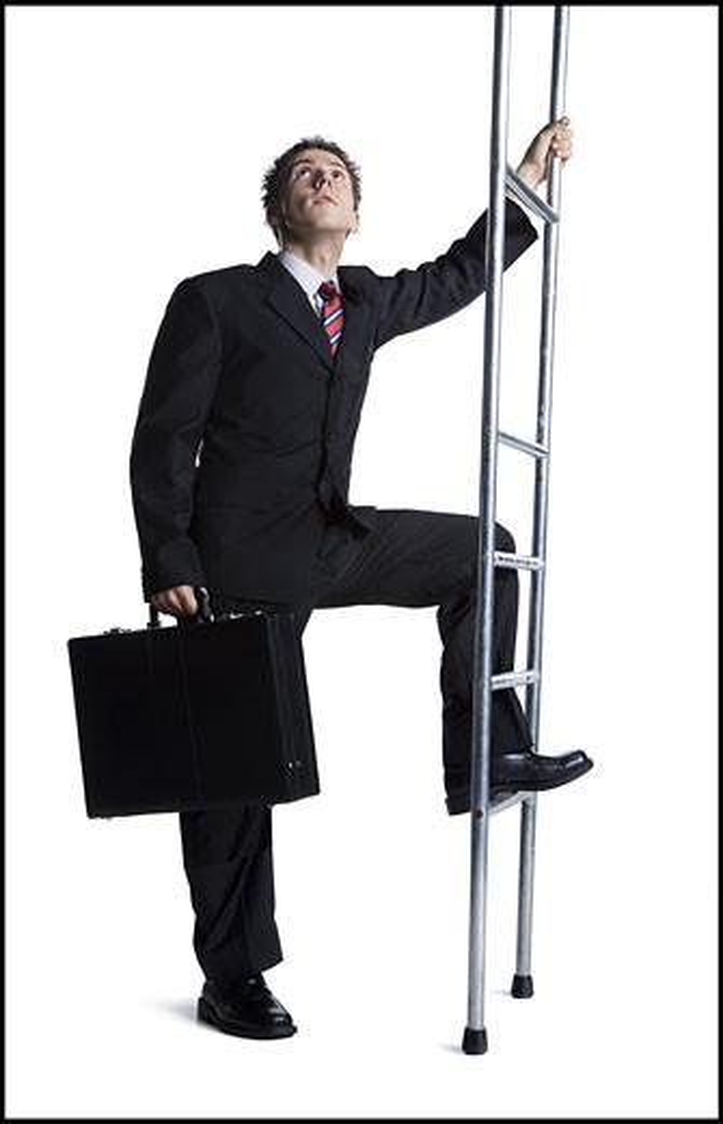 Businessman climbing corporate ladder : Stock Photo