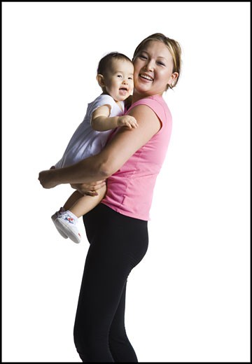 Stock Photo: 1660R-28556 Contortionist mother with baby daughter