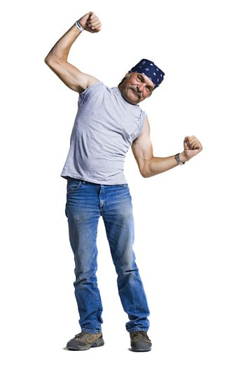 Stock Photo: 1660R-28615 Disheveled middle aged man flexing arms