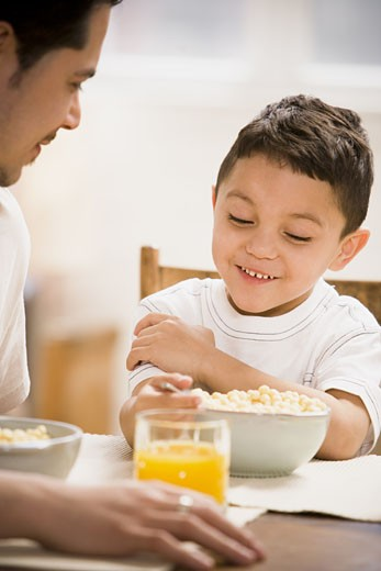 Stock Photo: 1660R-28855 Father and young son having breakfast together