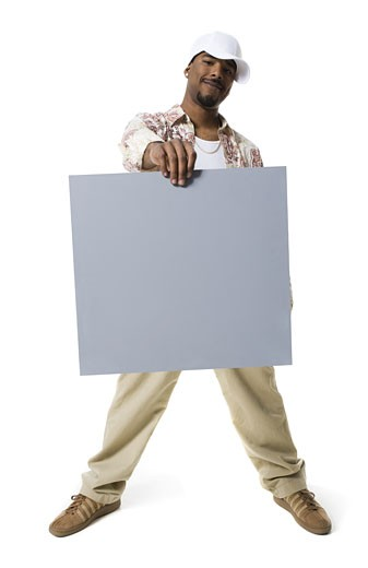 Stock Photo: 1660R-29173 ,African-Ethnicity,man holding a blank sign