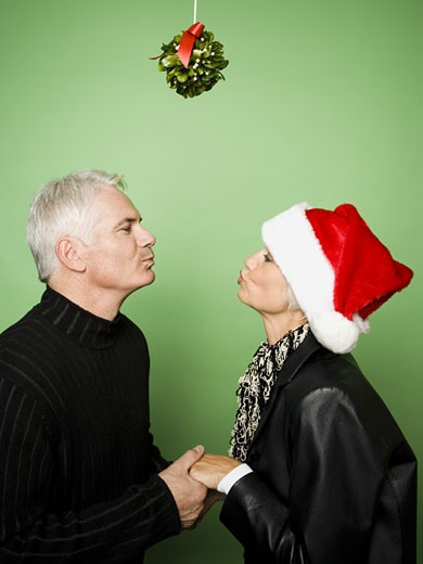 Couple celebrating Christmas with mistletoe : Stock Photo
