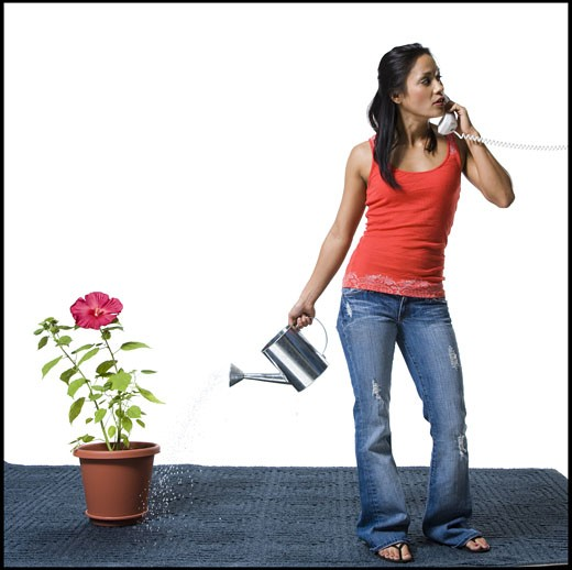 Distracted woman watering flowers but missing the pot : Stock Photo
