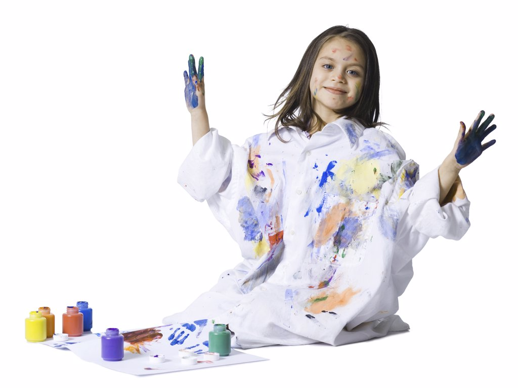 Stock Photo: 1660R-32840 Young girl finger painting