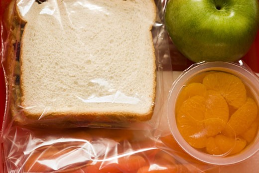 Close-up of the contents of a lunch box : Stock Photo