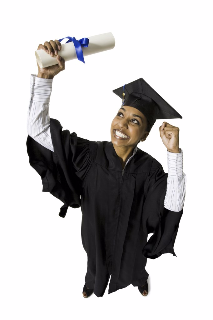Stock Photo: 1660R-33365 Woman in graduation gown and Blank Sign with diploma excited