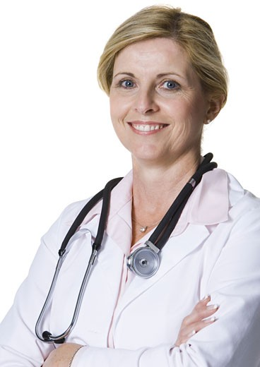 Stock Photo: 1660R-3622 Portrait of a female doctor with a stethoscope around her neck