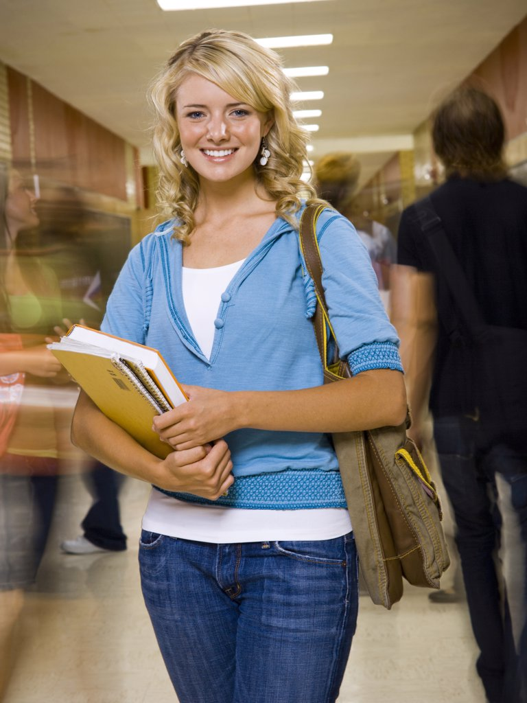 Stock Photo: 1660R-36472 Teenage couple at school.