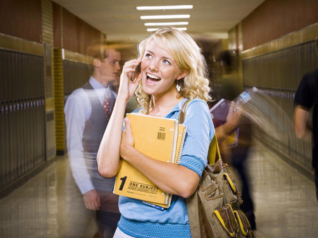 High School girl at school. : Stock Photo