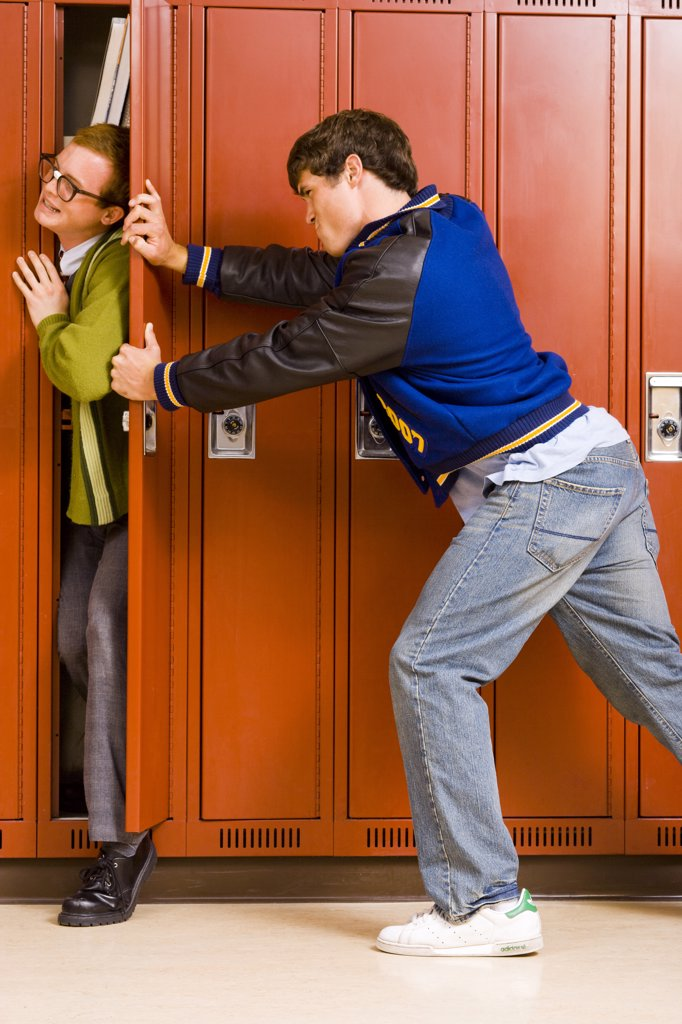 Stock Photo: 1660R-36547 High School Jock and a Nerd.