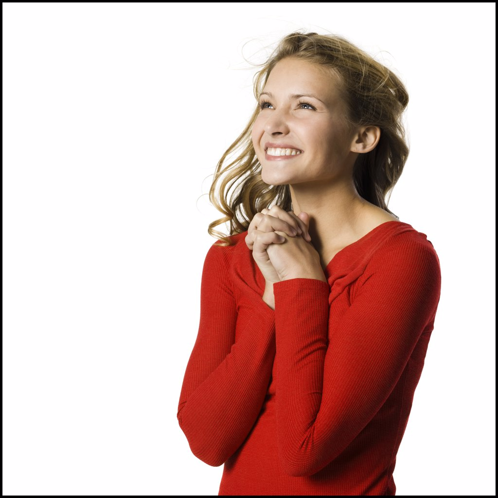 Stock Photo: 1660R-37267 young woman in a red sweater.