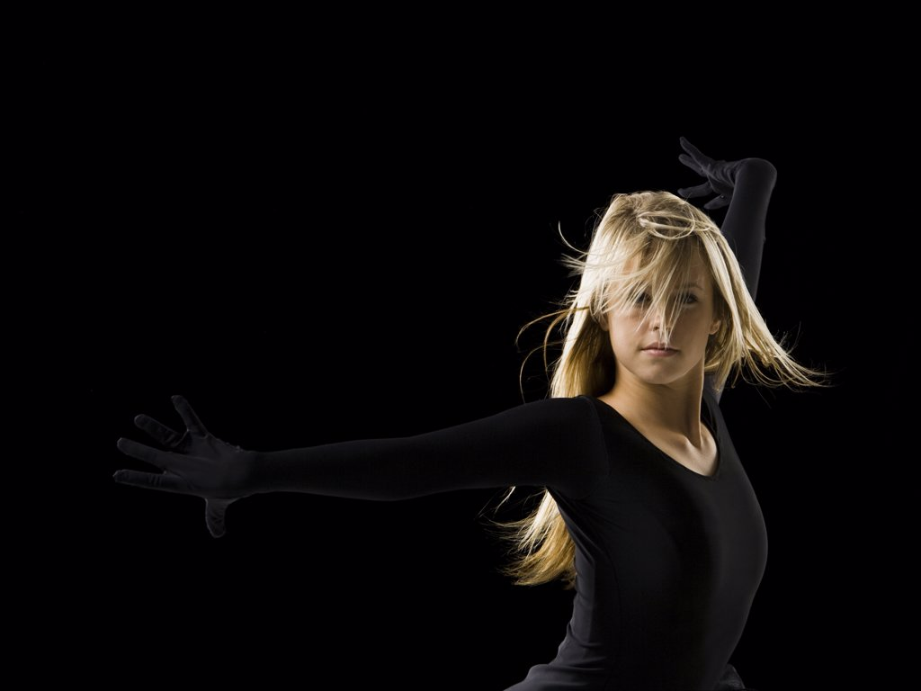Stock Photo: 1660R-37764 young woman dancing