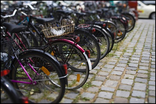 Stock Photo: 1660R-3821 Bicycles parked in a row