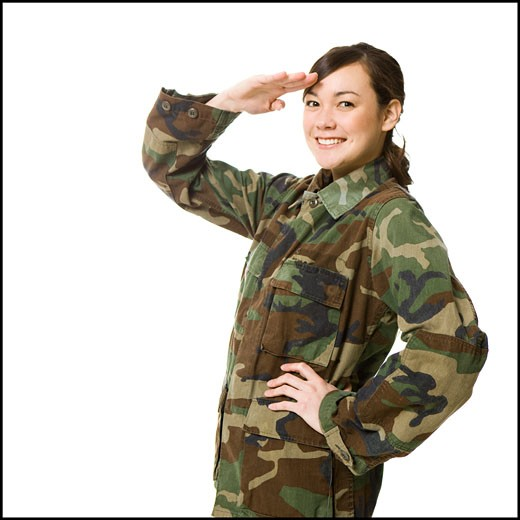 young woman in camouflage : Stock Photo
