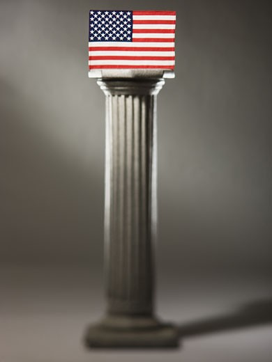 Stock Photo: 1660R-39800 American flag on a pedestal