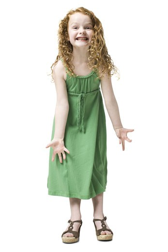 Stock Photo: 1660R-40101 girl in a green dress