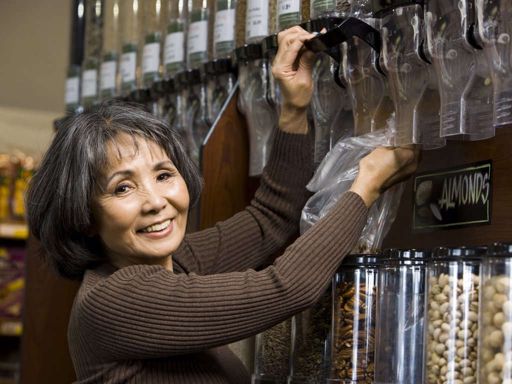 Stock Photo: 1660R-41286 senior woman at the supermarket
