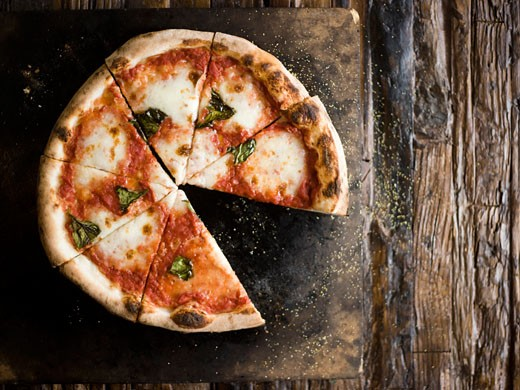 Stock Photo: 1660R-42060 wood-fired cheese pizza