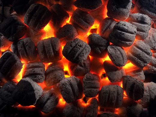 Stock Photo: 1660R-45480 burning coals