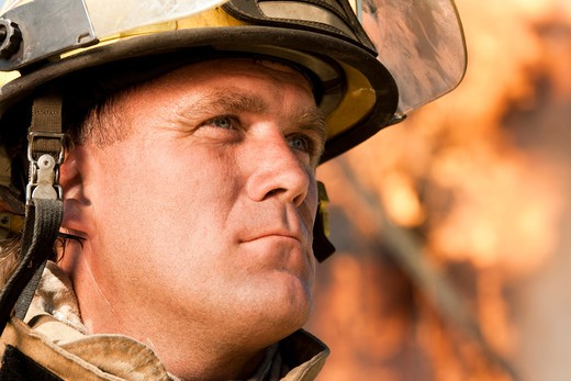 Stock Photo: 1660R-50157 Closeup of fire fighter at work