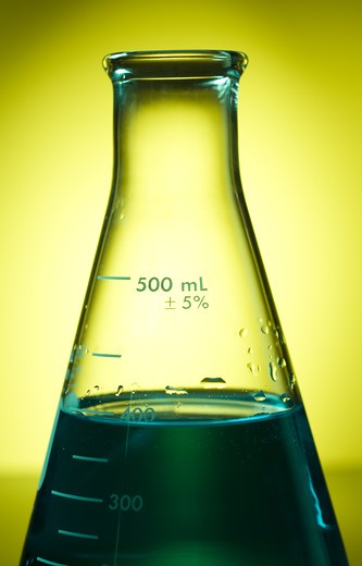 Flask with chemicals in it : Stock Photo