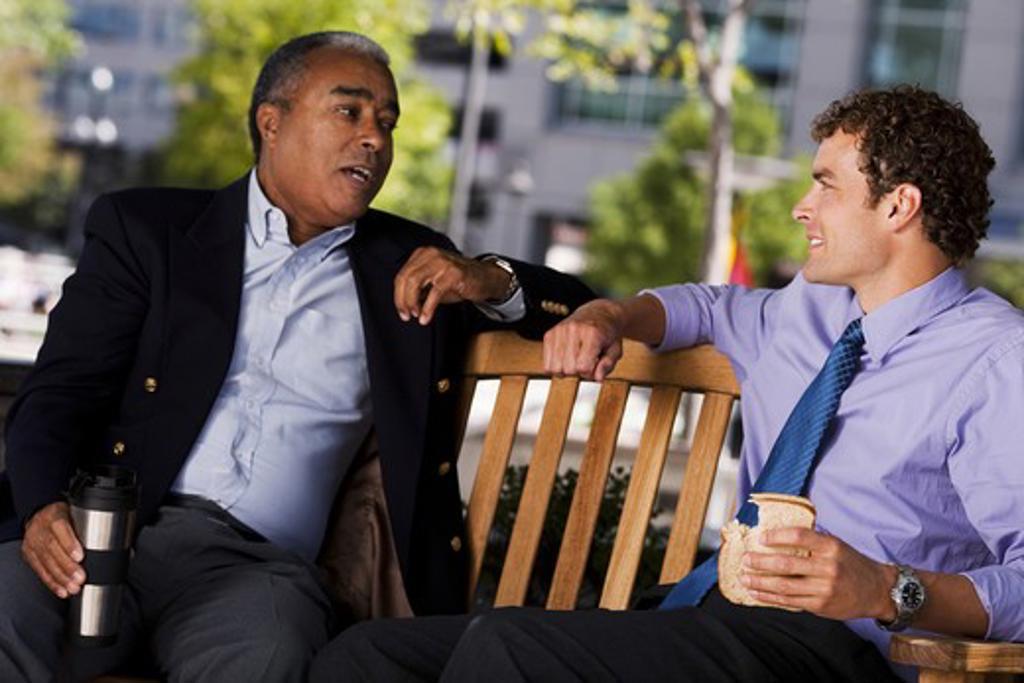 Stock Photo: 1660R-51531 Businessmen on park bench