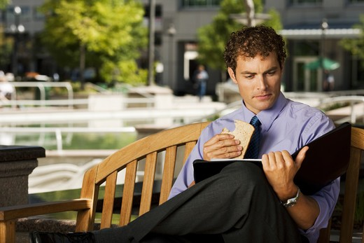 Stock Photo: 1660R-51539 Businessman on park bench