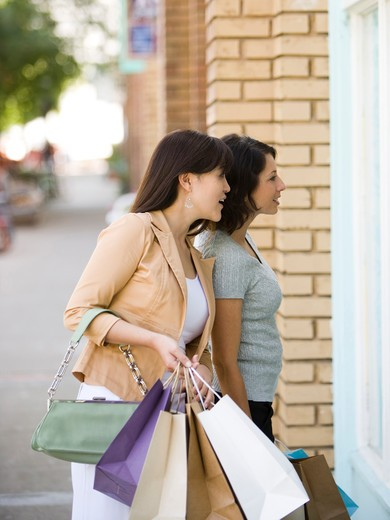 Stock Photo: 1660R-51971 Young woman with an adult woman carrying shopping bags