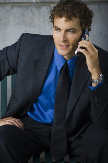 Stock Photo: 1660R-52034 Businessman on cellular sitting on bench
