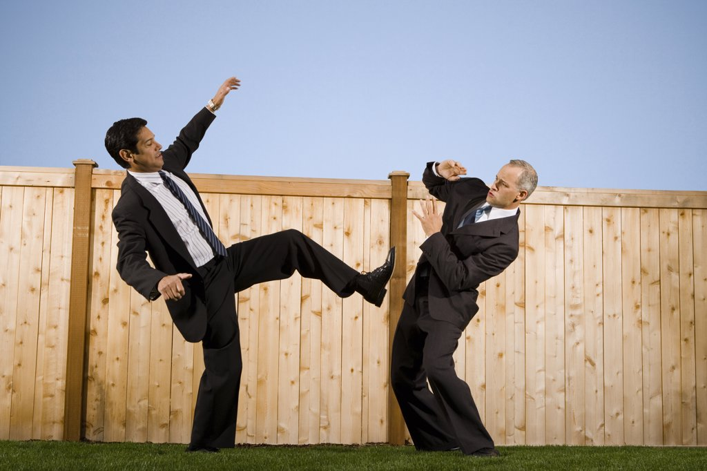 Stock Photo: 1660R-52609 Businessmen in front of a fence playfighting