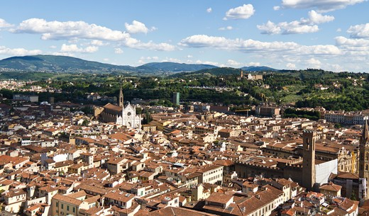 Stock Photo: 1660R-53096 Italy, View of Florence with Church of Santa Croce