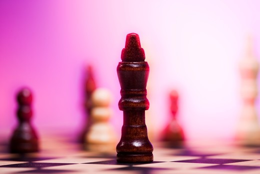 Stock Photo: 1660R-54265 Chess board and chess pieces