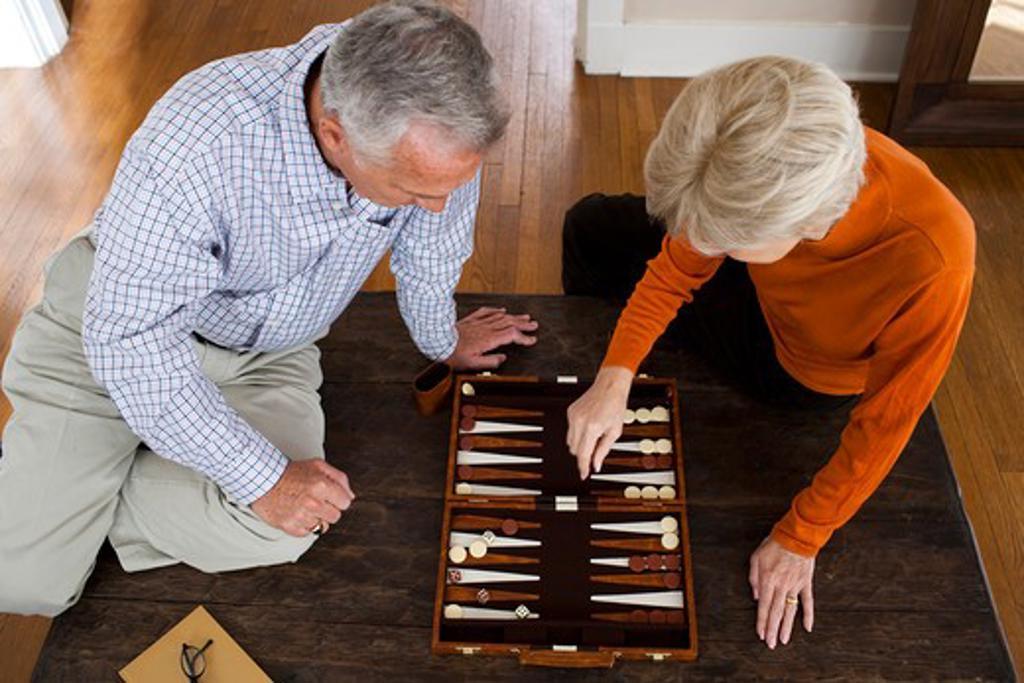 Mature couple playing backgammon : Stock Photo