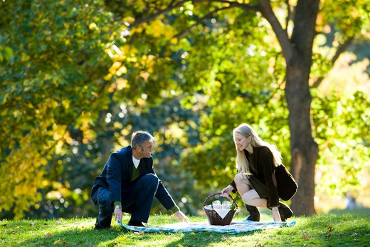 Couple with picnic outdoors : Stock Photo