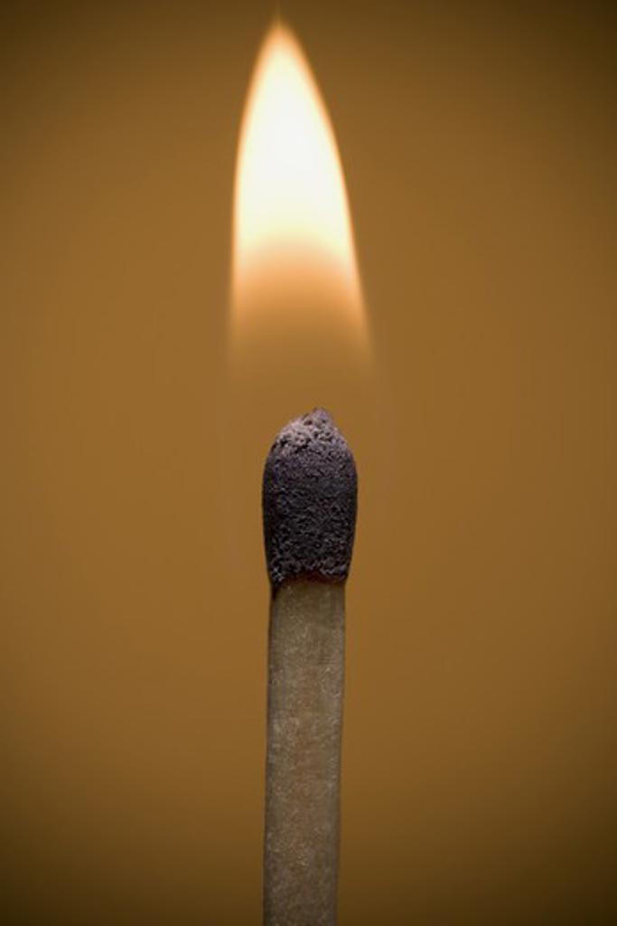 Stock Photo: 1660R-56005 Closeup of burning match