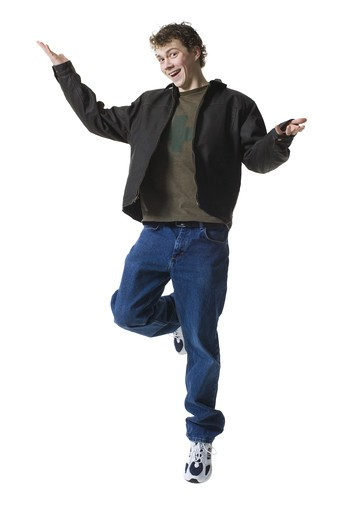 Stock Photo: 1660R-56493 Teenage boy jumping