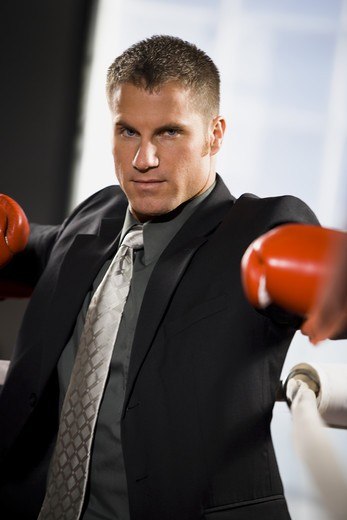 Businessman boxing : Stock Photo
