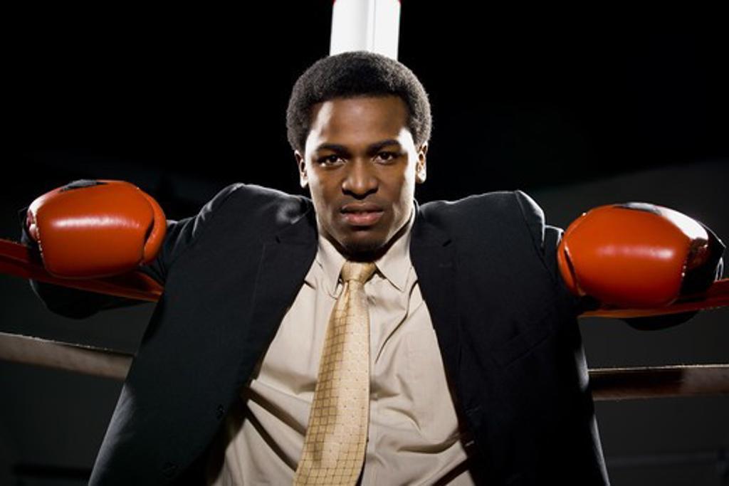 Businessman boxing : Stock Photo