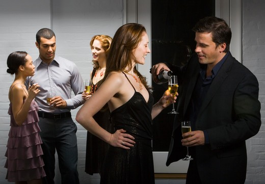 Stock Photo: 1660R-57249 Partygoers socializing