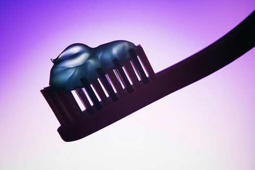 Stock Photo: 1660R-5733 Close-up of toothpaste on a toothbrush