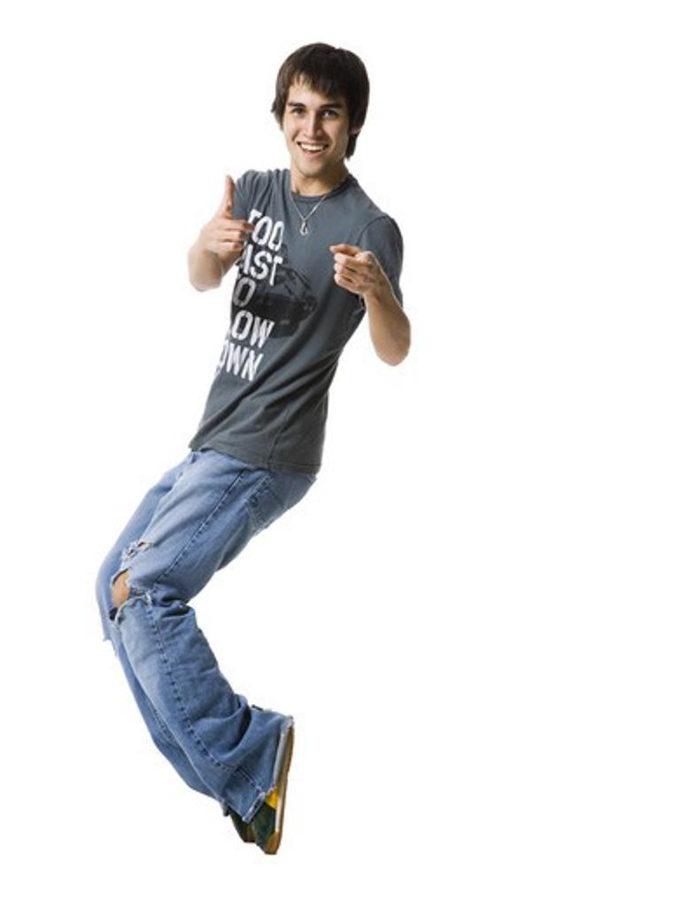 Stock Photo: 1660R-58061 young man dancing