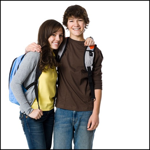 Stock Photo: 1660R-58677 Students with book bags posing