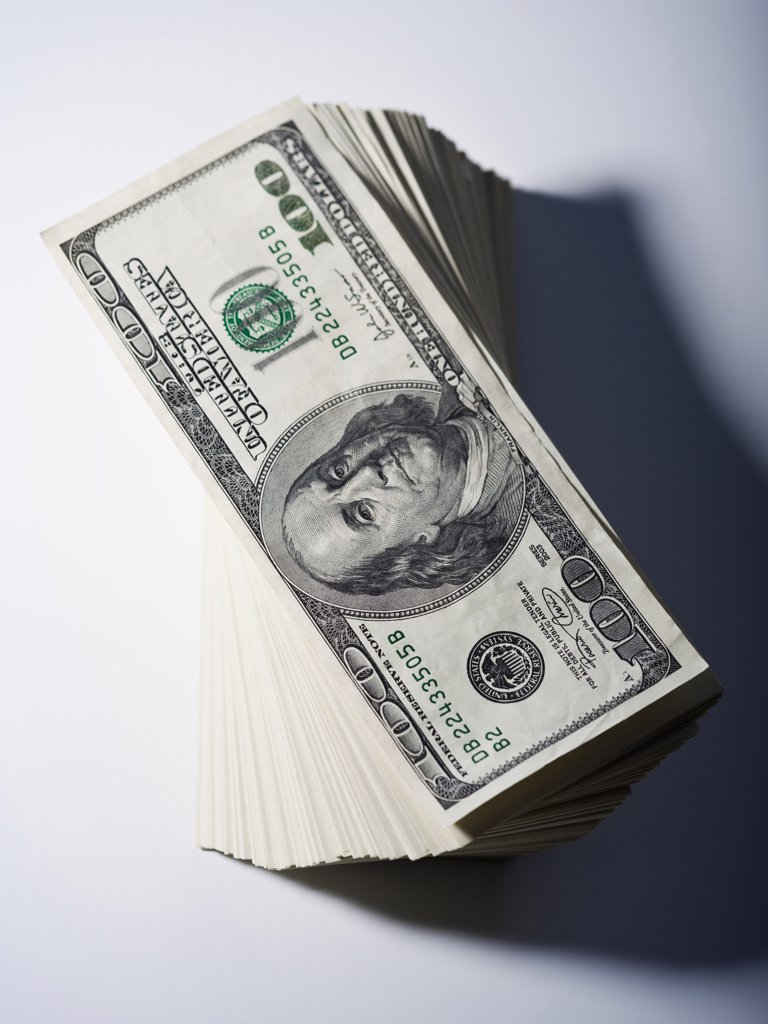 Stock Photo: 1660R-59115 Stack of one hundred dollar bills