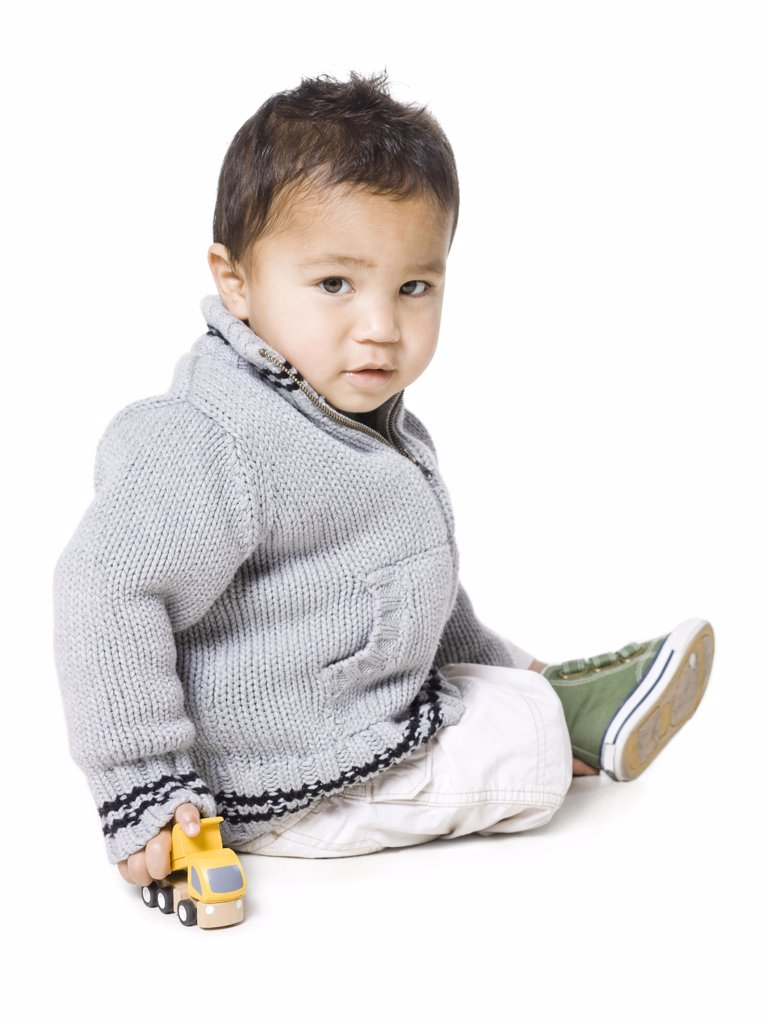 Stock Photo: 1660R-60148 Studio portrait of boy (18-23 months)