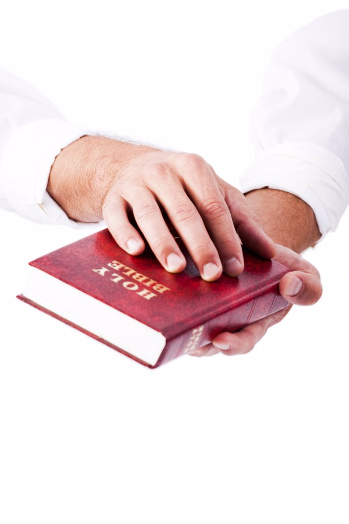 Stock Photo: 1660R-60754 Hands holding bible